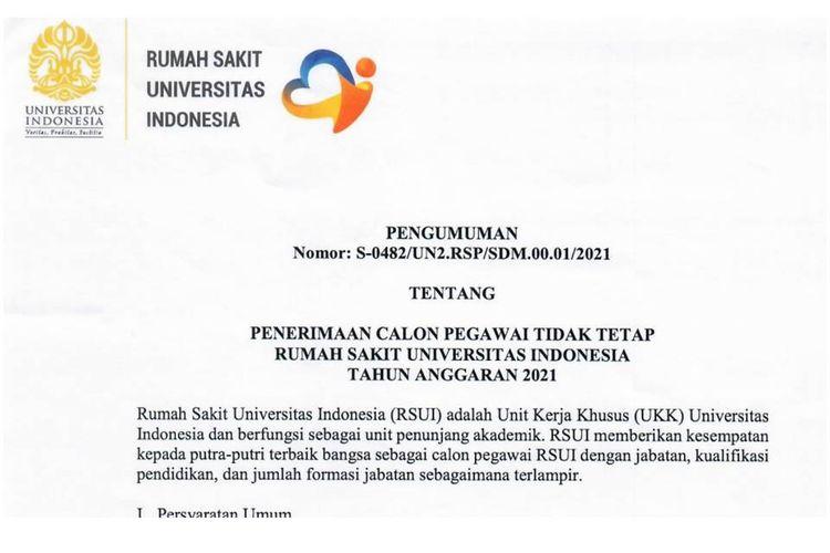 Lowongan kerja di Rumah Sakit Universitas Indonesia tahun anggaran 2021.