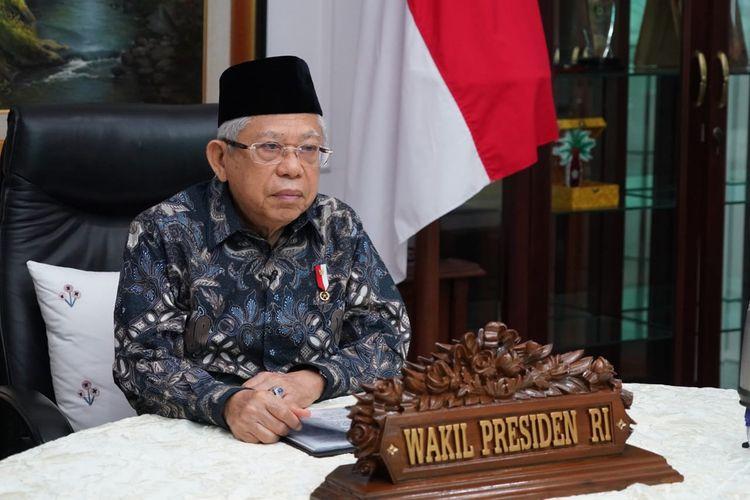 Wakil Presiden Maruf Amin saat menjadi keynote speaker di acara 1st International Conference on Islamic Civilization (1st ICIC) yang digelar Universitas Islam Sultan Agung (Unisula) secara daring, Kamis (27/8/2020).