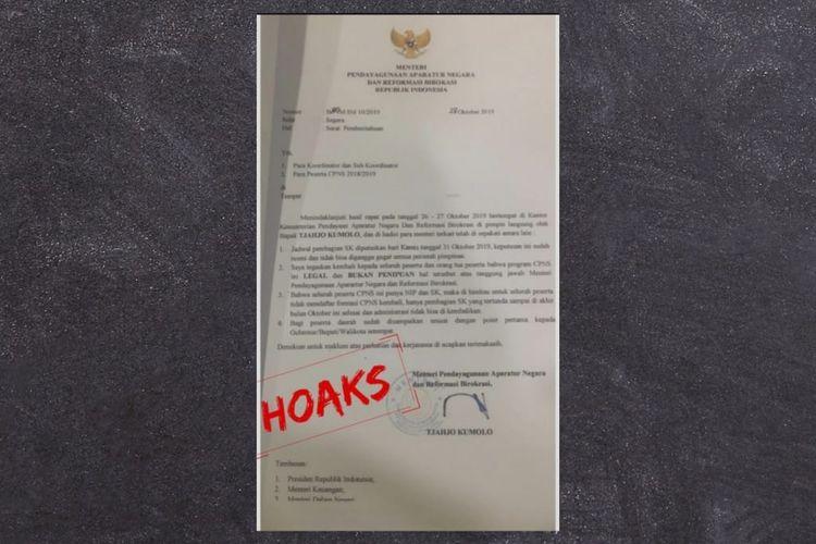 Surat palsu pengangkatan CPNS dengan mengatasnamakan Menteri PANRB.