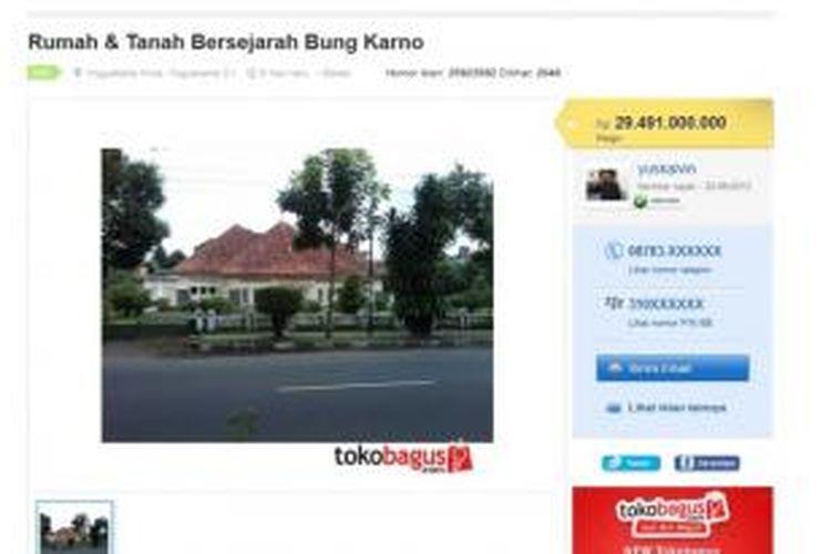 Iklan penjualan rumah yang disebut sebagai rumah bersejarah Bung Karno.
