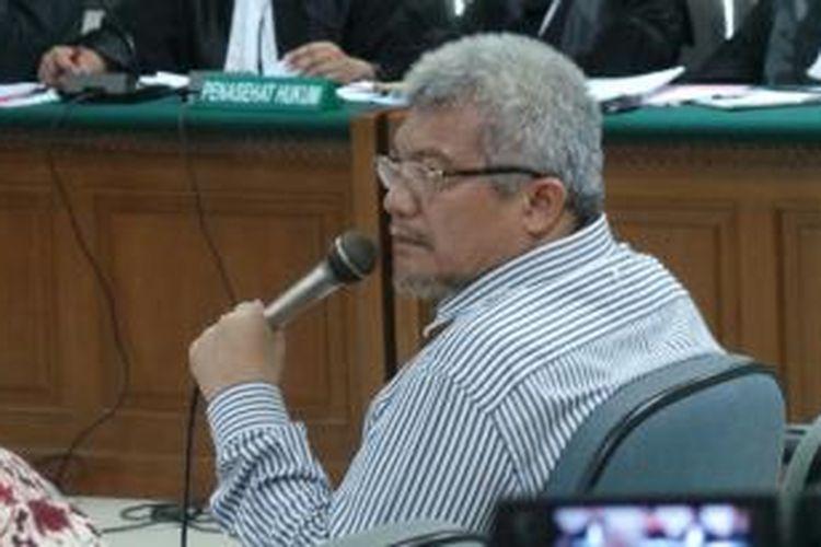 Mantan Menteri Kehutanan MS Kaban bersaksi dalam sidang kasus dugaan korupsi SKRT dengan terdakwa Anggoro Widjojo di Pengadilan Tindak Pidana Korupsi Jakarta, Rabu (28/5/2014).