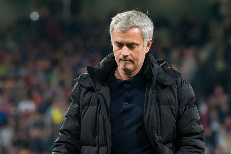 Salah satu ekspresi pelatih Chelsea Jose Mourinho, pada pertandingan keempat Grup G Liga Champions, di Maribor, Rabu (5/11/2014).
