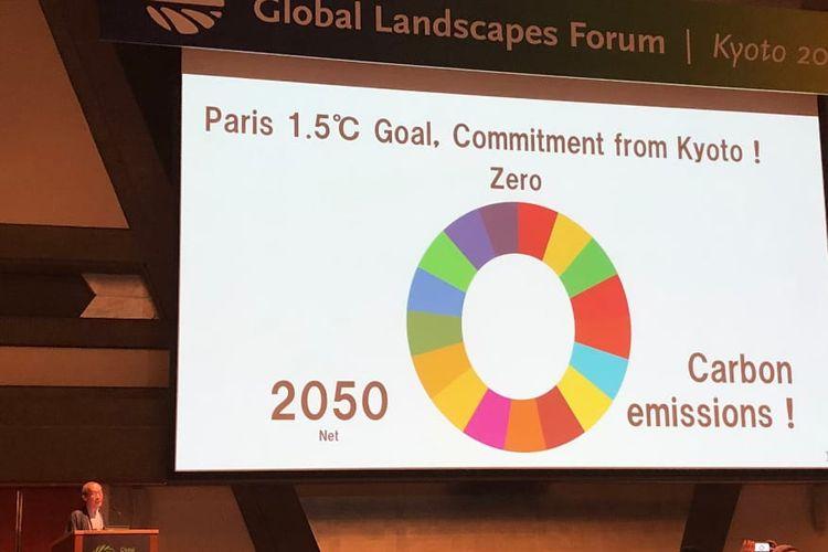 Walikota Kyoto, Daisaku Kodogawa menyatakan komitmen ambisius untuk mengurangi emisi karbon hingga 0 pada tahun 2050.