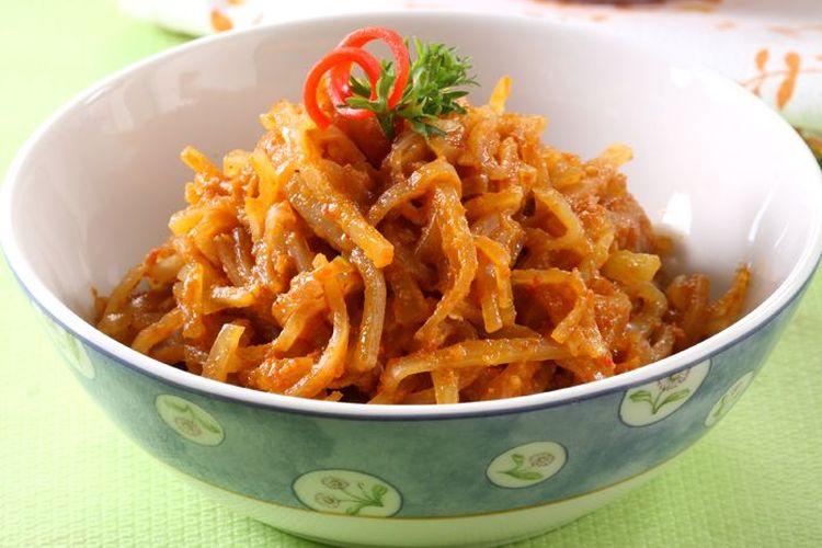 Tumis pepaya muda ebi ala Sajian Sedap, masakan tanpa santan untuk menu buka puasa.
