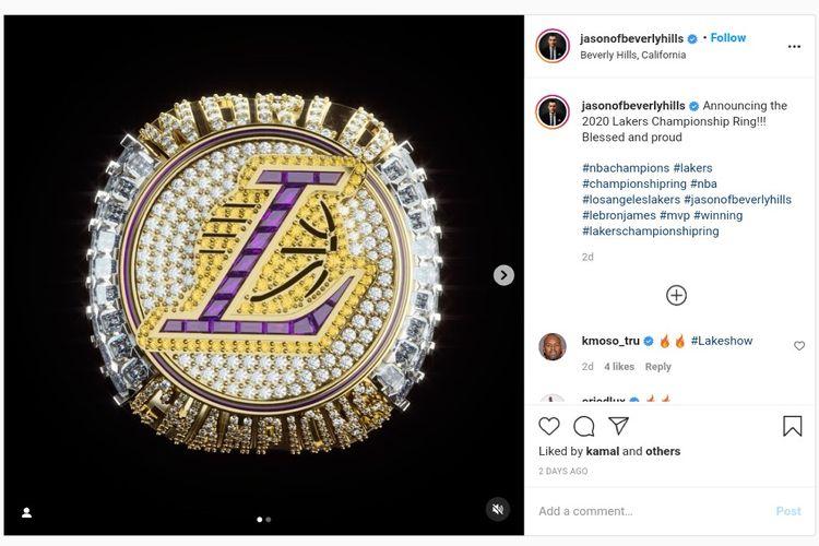 Cincin juara NBA 2019-2020 milik Lakers menyertakan desain dengan detail penghormatan untuk mendiang Kobe Bryant.