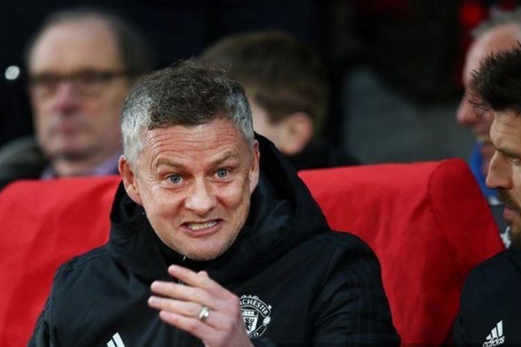 Pelatih Manchester United, Ole Gunnar Solskjaer, dalam laga Man United vs Club Brugge pada leg kedua babak 32 besar Liga Europa 2019-2020.
