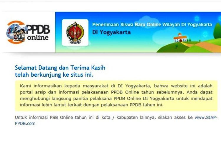 Penerimaan Peserta Didik Baru (PPDB) 2021 di Daerah Istimewa Yogyakarta.