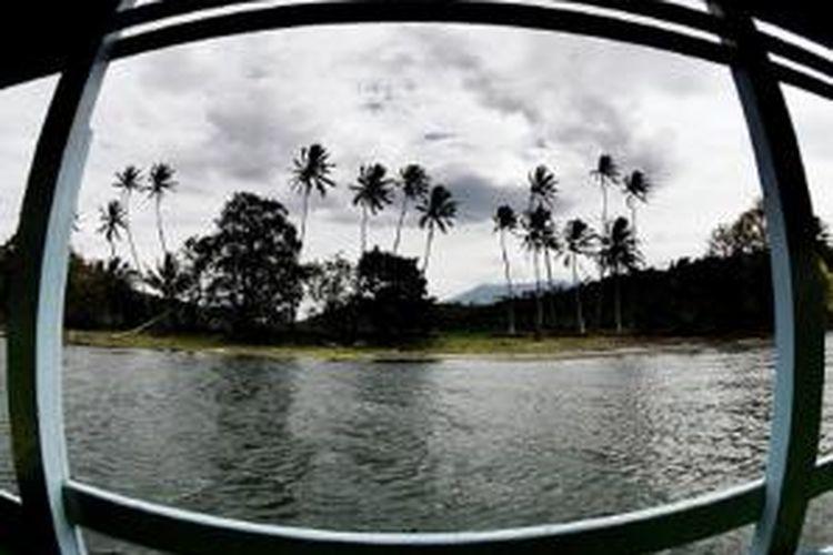 Lanskap tepi Danau Singkarak yang dipenuhi pohon kelapa di wilayah Sumpur, Tanah Datar, Sumatera Barat, Sabtu (13/7/2013). Kehidupan di Sumpur pantas menjadi daya tarik wisata tersendiri di tepian Danau Singkarak.