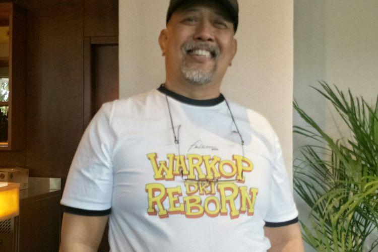 Komedian Indro Warkop saat ditemui dalam peluncuran trailer film Warkop DKI Reborn di XXI Epicentrum, Jakarta Selatan, Rabu (14/8/2019).