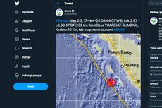 Gempa Bumi M 6,0 Dirasakan di Padang dan Bengkulu