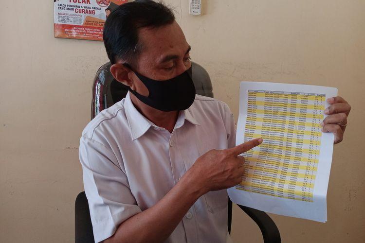 Khoirul Saleh Ketua Bawaslu Kabupaten Demak Jawa Tengah  menunjukkan data pemilih berpotensi ganda di DPS Pilkada Demak , Rabu (30/9/2020)