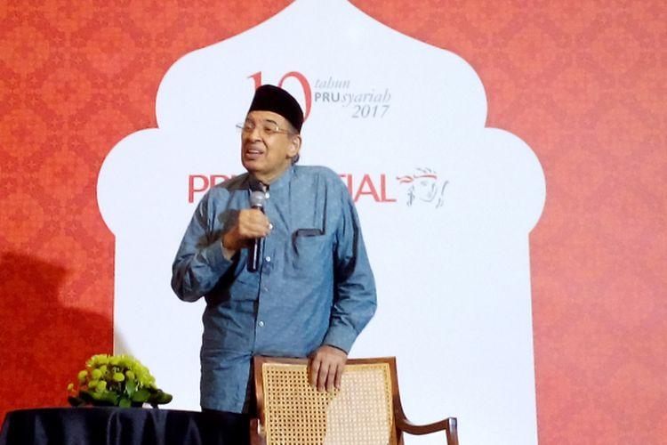 Quraish Shihab menjadi penceramah dalam acara buka puasa Prudential, Rabu (7/6/2017) di Hotel Hermitage, Jalan Cilacap, Menteng, Jakarta Pusat.