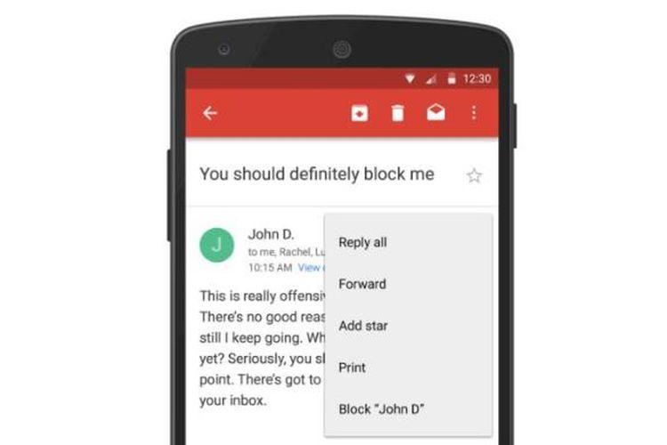 Pengguna Gmail kini bisa memblokir alamat email yang dianggap sebagai pengganggu