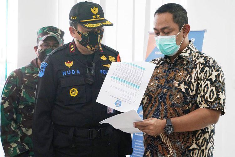 Hendi saat mengecek beberapa pos pemeriksaan di pintu masuk Kota Semarang
