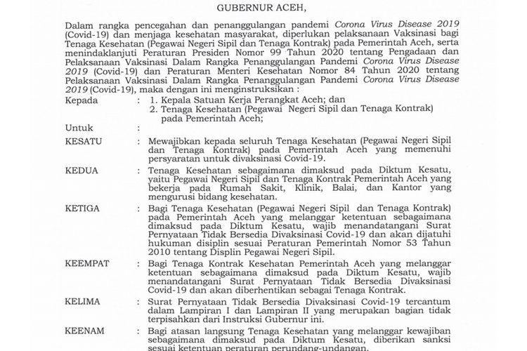 Instruksi Gubernur Aceh, Nakes Kontrak yang Tak Bersedia Divaksin Akan Diberhentikan