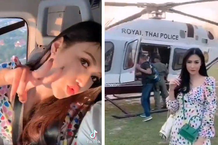 Kolase foto tangkapan layar video di TikTok yang merekam seorang istri polisi pamer naik helikopter Kepolisian Kerajaan Thailand.