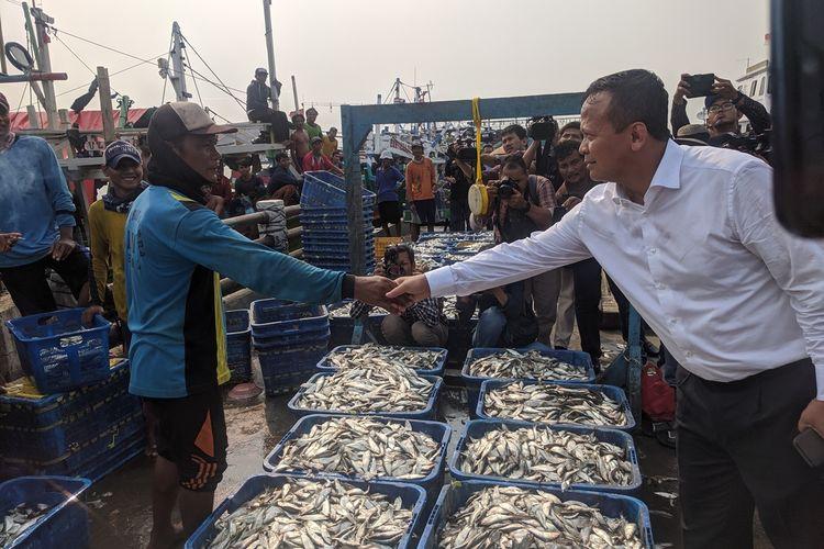 Kunjungan Menteri Kelautan dan Perikanan Edhy Prabowo di Pelabuhan Perikanan Muara Angke, Penjaringan, Jakarta Utara, Senin (28/10/2019).