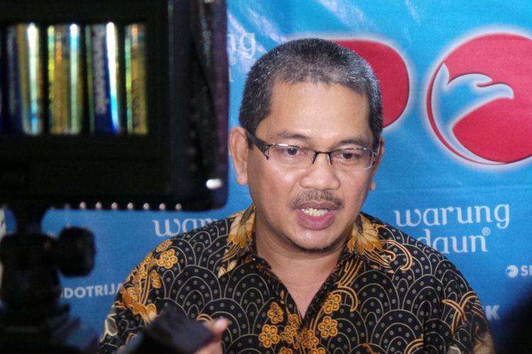 Juru bicara Komisi Yudisial (KY), Farid Wajdi, saat menghadiri diskusi di kawasan Cikini, Jakarta Pusat, Sabtu (29/4/2017).