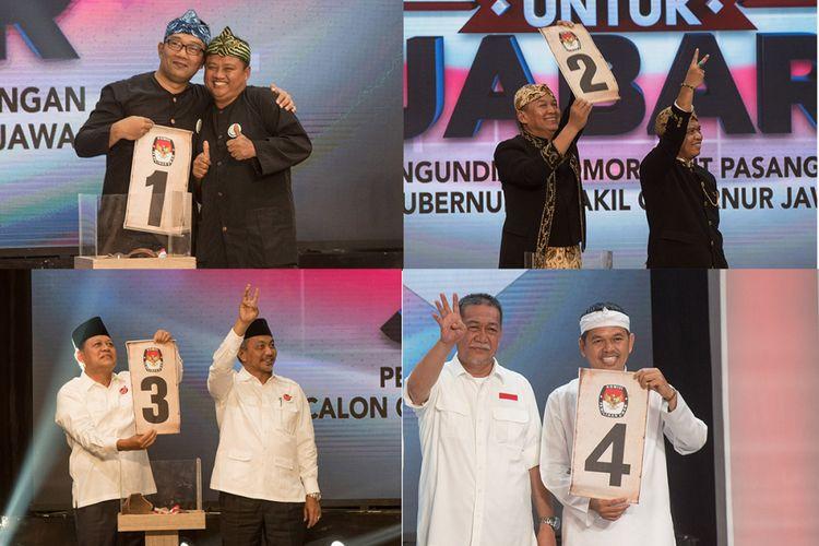 Foto kolase empat pasangan calon gubernur-wagub Jawa Barat Ridwan Kamil-Uu Ruzhanul Ulum (kiri atas), TB Hasanuddin-Anton Charliyan (kanan atas), Sudrajat-Ahmad Syaikhu (kiri bawah), dan Deddy Mizwar-Dedi Mulyadi (kanan bawah) menunjukkan nomor urut masing-masing saat rapat pleno pengundian nomor urut oleh KPU Jawa Barat di Sport Centre Arcamanik, Bandung, Jawa Barat, Selasa (13/2/2018). Pasangan Ridwan Kamil-Uu mendapat nomor urut satu, TB Hasanuddin-Anton nomor urut dua, Sudrajat-Syaikhu nomor urut tiga, dan Deddy Mizwar-Dedi Mulyadi nomor urut empat. ANTARA FOTO/Novrian Arbi/kye/1