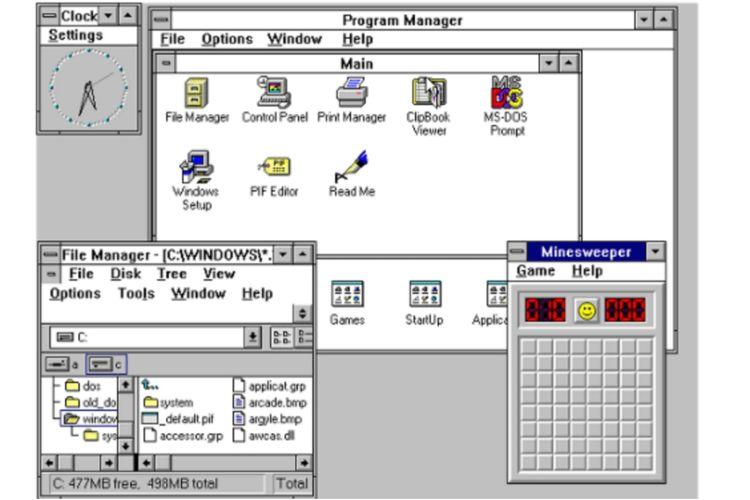 Tampilan antarmuka Windows 3.1.