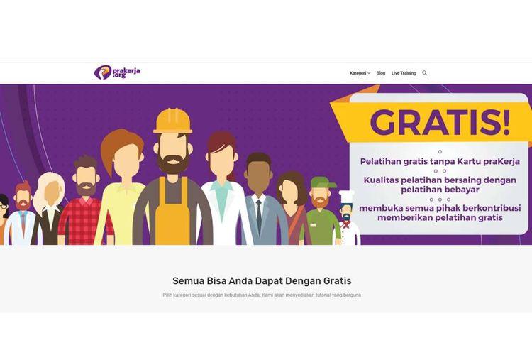 Situs prakerja.org yang menyediakan pelatihan daring gratis, sebagai bentuk kritik atas program Kartu Prakerja.