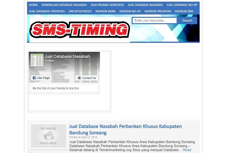 Tampilan situs web temanmarketing.com yang menjual data nasabah.
