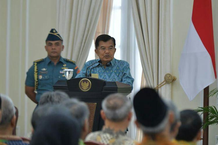 Wakil Presiden Jusuf Kalla di Istana Wakil Presiden, Jakarta, Rabu (6/3/2019).