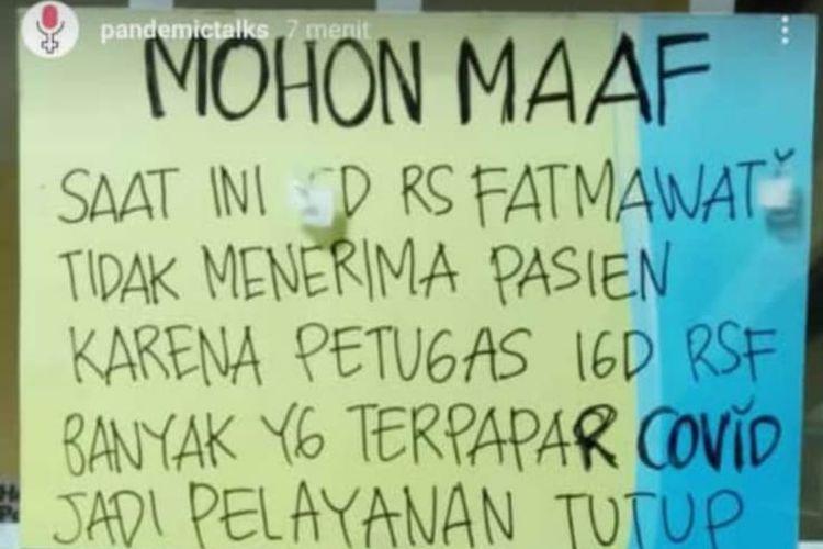 Foto yang berisi informasi hoaks layanan IGD RSUP Fatmawati ditutup.