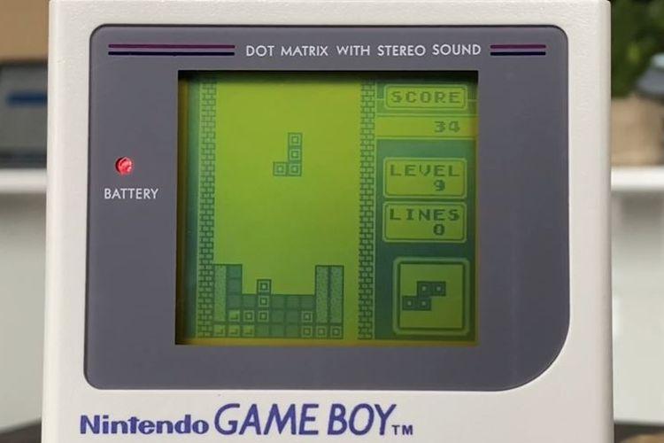 Ilustrasi game Tetris di Nintendo Game Boy.