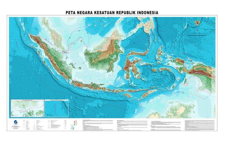 Peta terbaru Indonesia yang diluncurkan pada 2017 oleh Badan Informasi Geospasial.