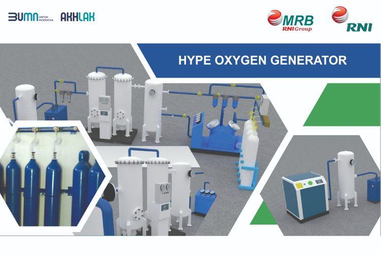 Oksigen generator bernama Hype Oxygen Generator buatan PT Rajawali Nusantara Indonesia atau RNI (Persero).