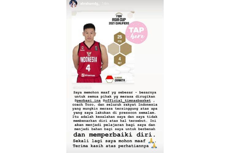 Tangkapan layar permohonan maaf Abraham Damar Grahita terkait sikapnya dalam konferensi pers usai pertandingan kontra Korea Selatan di Kualifikasi FIBA Asia Cup 2021 di Mahaka Arena, Jakarta Utara, Kamis (20/2/2020).