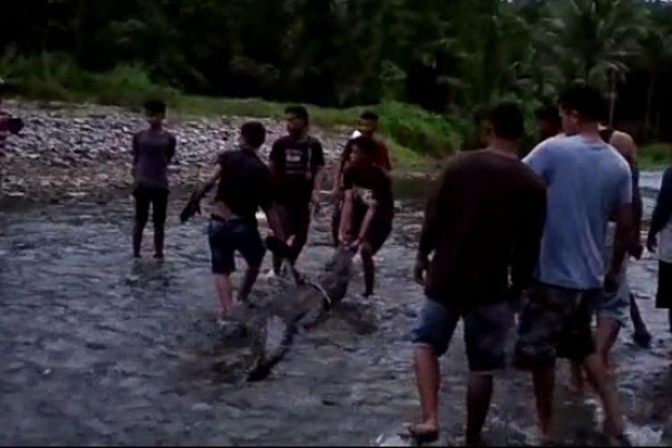 Warga Desa Hualoy, Kecamatan Amalatu, Kabupaten Seram Bagian Barat, Maluku menangkap seekor buaya muara di sungai Ama desa tersebut, Minggu petang (31/3/2019)
