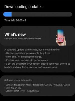 Update yang disalurkan ke Samsung Galaxy Note 20 dan Note 20 Plus sebelum sampai ke tangan pembeli, antara lain berisi security patch Android untuk Agustus 2020.