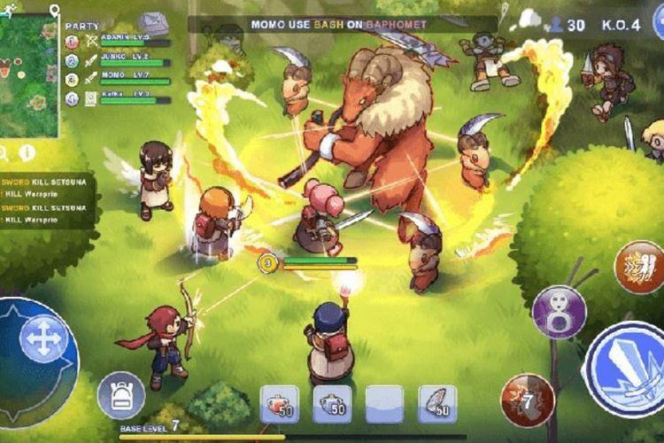 Ilustrasi gameplay Ragnarok: Battle Academy ketika membasmi musuh dan pemain lain.