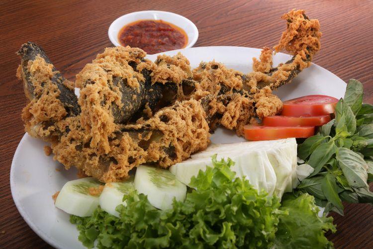 Ilustrasi ikan lele goreng kremes.