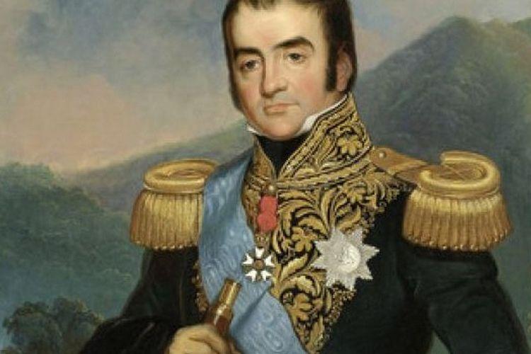 Potret Gubernur Jenderal Herman Willem Daendels memegang De Grote Postweg (Great Post Road) dengan tulisan Rigting van Weg Megamendong 1818 (arah jalan Megamendung). Latar belakang lukisan di Puncak Pass dan Gunung Pangrango.