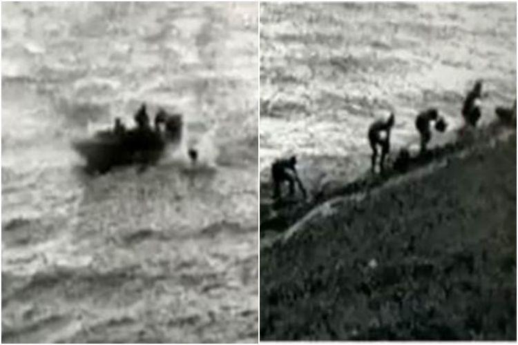 Empat orang Indonsia melompat dari perahu yang tidak dinomori ke perairan di Tuas Reclaimed Land sebelum berenang menuju garis pantai Singapura.