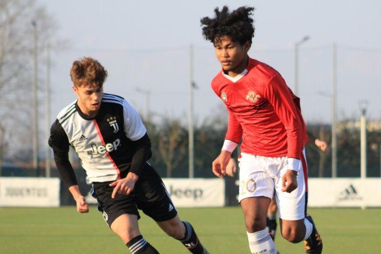 Amiruddin Bagus Kahfi pada laga Garuda Select vs Juventus U-17, Kamis (16/1/2020) malam WIB.