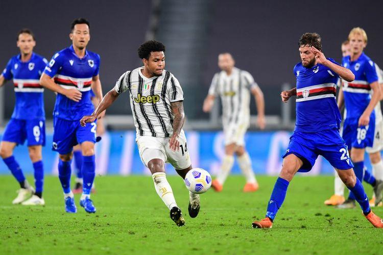 Gelandang Juventus, Weston McKennie, beraksi pada laga kontra Sampdoria di Juventus Stadium, Turin, pada 20 September 2020.