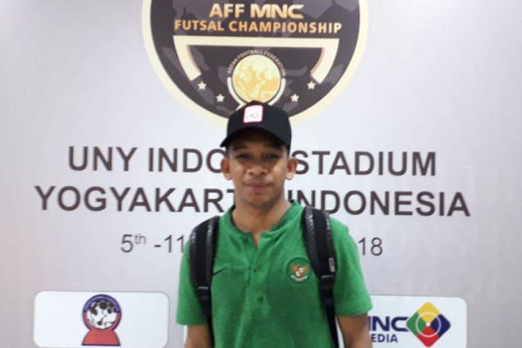 Pemain timnas futsal Indonesia, Ardiansyah Runtuboy, saat ditemui BolaSport.com seusai laga melawan Malaysia di GOR UNY, Selasa (6/11/2018).