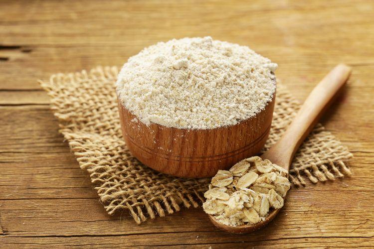 ilustrasi tepung oat atau tepung gandum.