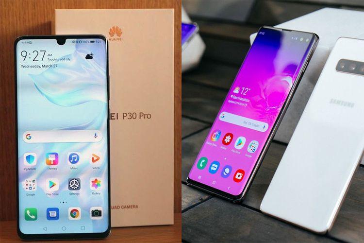 Huawei P30 Pro (kiri) dan Samsung Galaxy S10 Plus