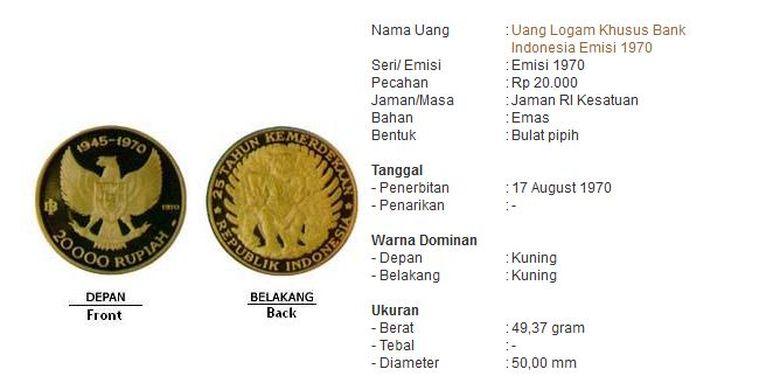 Salah satu UPK pada HUT ke-25 RI tahun 1970, logam emas dengan nominal Rp 20.000