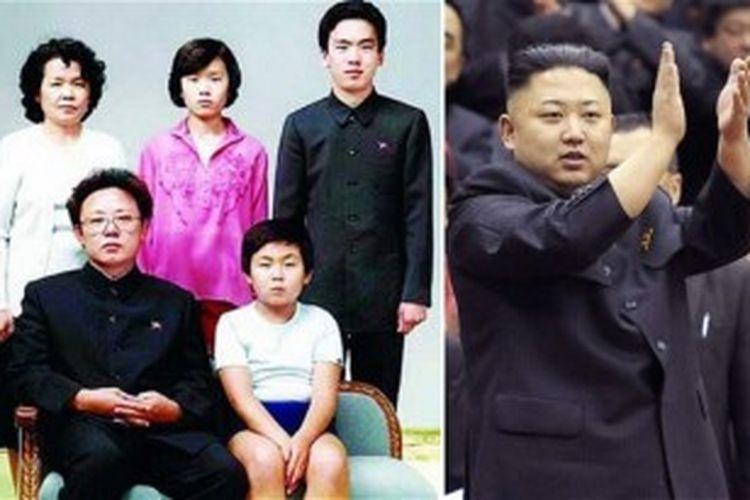Kim Jong Il (depan kiri), putra bungsunya Kim Jong Un (kanan depan), di baris kedua (dari kiri);  istri keempatnya Kim Ok, saudara perempuannya, Kim Kyong-hui dan suaminya, Jang Song-Thaek.