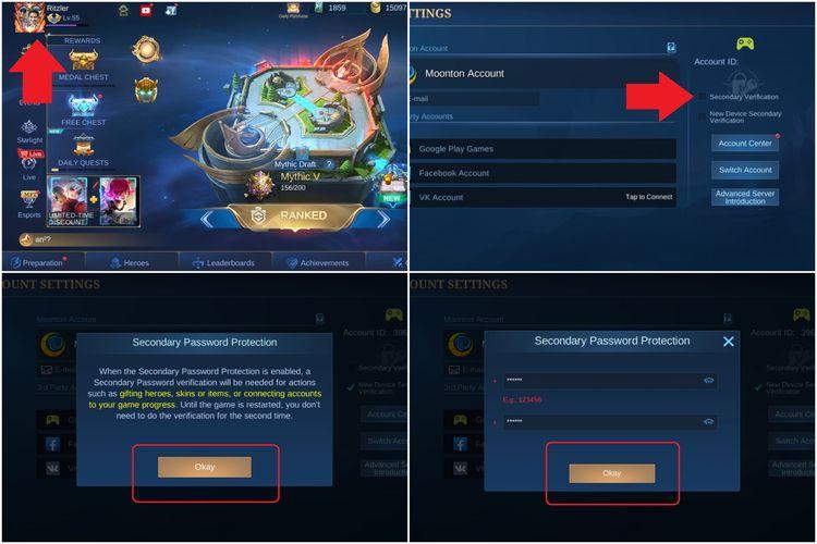 Cara mengaktifkan fitur Secondary Verification di Mobile Legends.