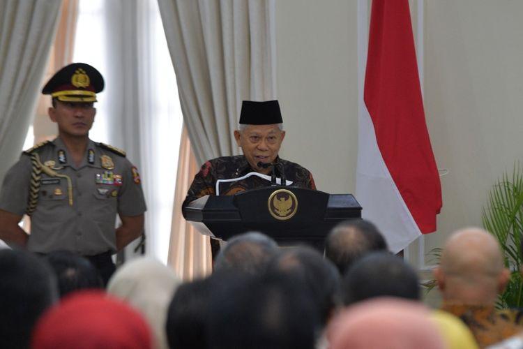 Maruf Amin saat berpidato di acara pemberian penghargaan keterbukaan informasi publik