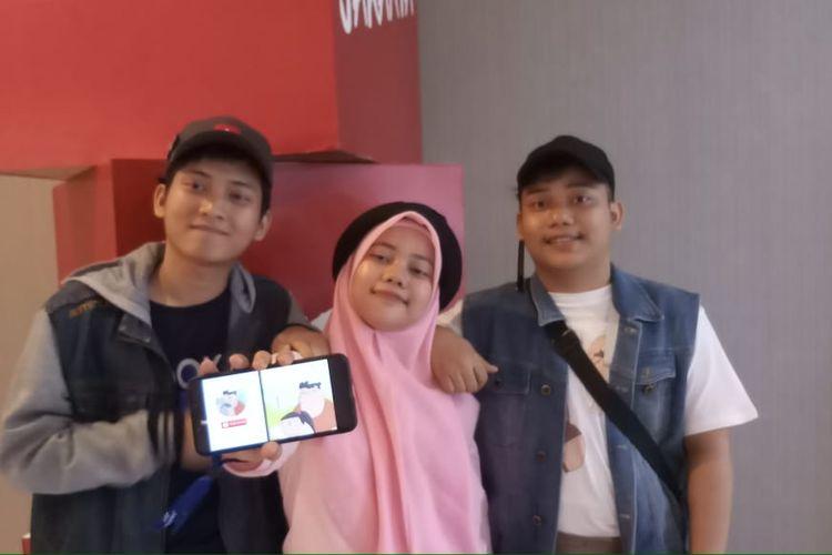 Pemeran dan tim dalam animasi Si Nopal, Ridwan Fauzanullah, Naufal Faridurrazak (Si Nopal), dan Nadiah Rifatum Mumtaz (Cute Girl).