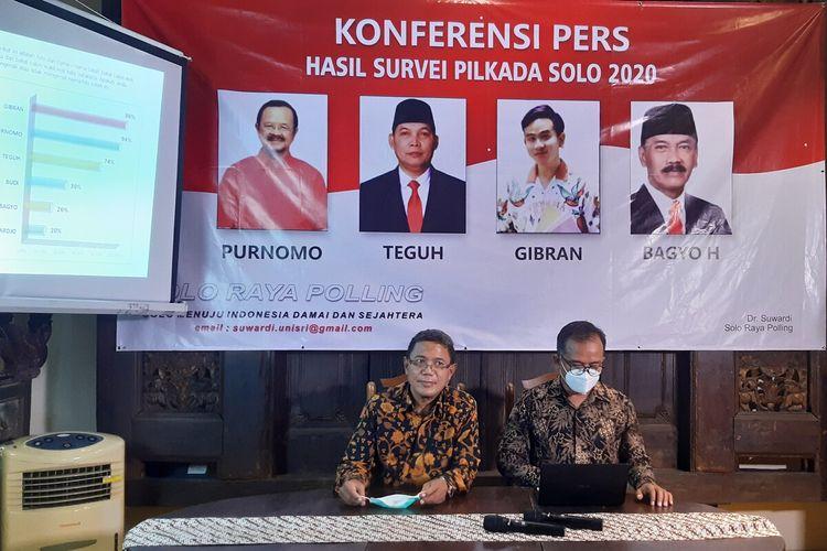 Konferensi pers Hasil Survei Pilkada Solo 2020 yang dilakukan oleh Solo Raya Polling di Solo, Jawa Tengah, Selasa (23/6/2020).