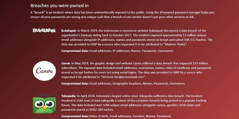 Tangkapan layar laman Have I Been Pwned yang memberikan informasi akun di paltform mana saja yang terdampak kasus kebocoran data.